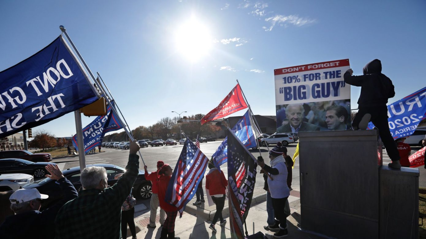 Trump supporters demonstrated at the corner of Preston and Parker roads in Plano on Dec. 12, 2020.