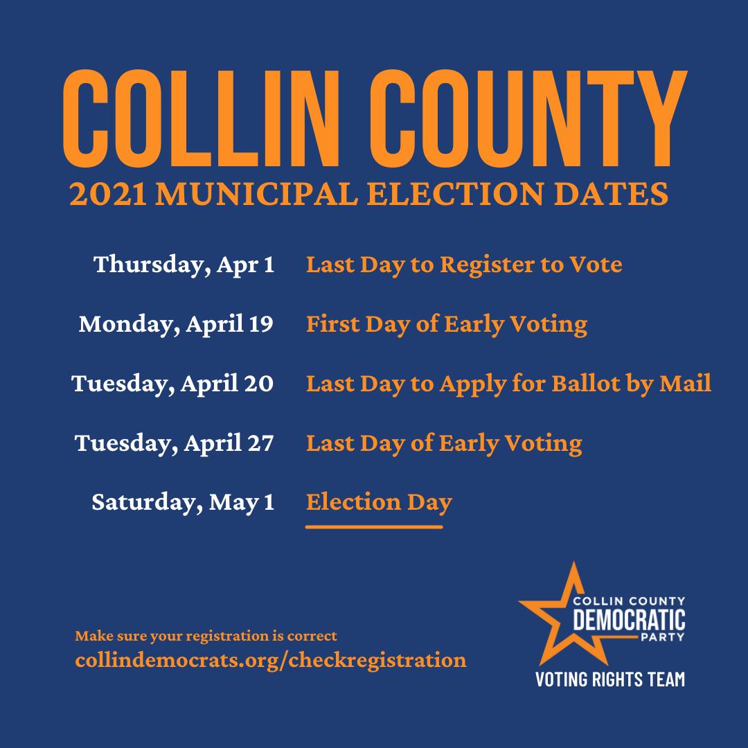 Collin County 2021 Municipal Election Dates
