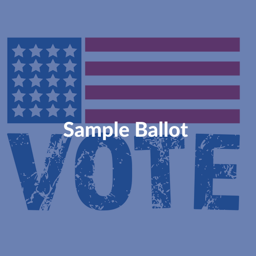 Stylized illustration of US flag superimposed on the word VOTE, with text Find My Sample Ballot